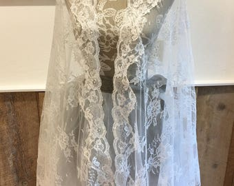 Soft Chantilly Lace Shawl/ Bridal Wrap