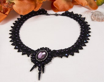 Victorian style beadwoven necklace
