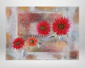 Sunflower, flower, oil painting, print on canvas