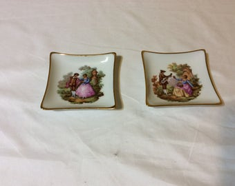 Victorian Romantic Limoges Porcelain Trinkets Dishes Set of 2