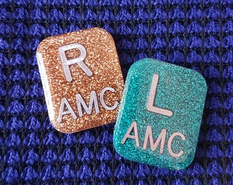 Rectangle Glitter Xray Markers. 2-3 initials. One Set