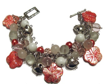 Hibiscus and Skulls Beaded Charm Bracelet Shades of White Coral Light Pink