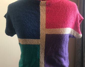 Vintage knit colour block top