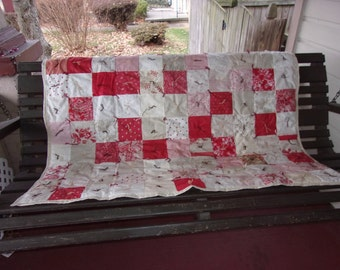 Red and Cream Country Prints Tied Throw