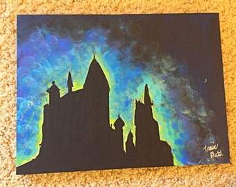 Sparkle and Glow in the Dark Hogwarts Canvas