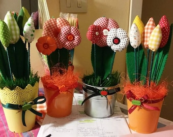 Fabric flowers with vase