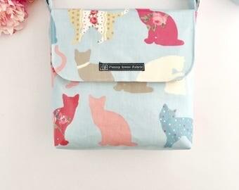 Cat lover gift, crazy cat lady, Cat purse, crossbody bag, cat gift, cat bag, sister gift, mum gift, blue handbag, cat handbag, cat lovers