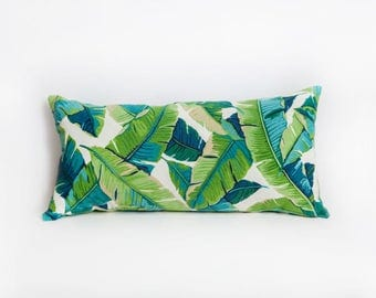 Green Bolster Pillows, Green, Bolster Pillow, Outdoor Bolster, Leaf Pillow, Indoor Outdoor, All Weather, Designer Pillow, Outdoor Pilllow