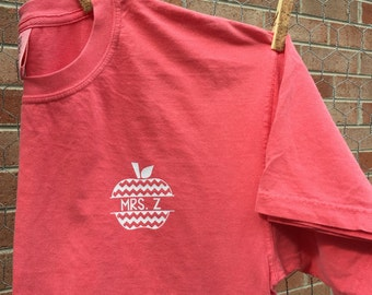 Teacher Name Apple Comfort Color Tshirt, Short Sleeve Comfort Color Monogram Shirt, Comfort Color Monogram Shirt, Monogram Tshirt