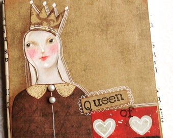 Original Collage 'Queen of Hearts'  Mixed media collage