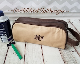 Monogrammed Men's Toiletry Bag, Graduation Gifts, Gifts for Men, Father's Day Gifts, Personalized Men's Travel Bag, Men's Dob kit