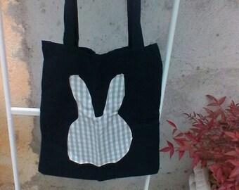 Black cotton tote bag with appliche