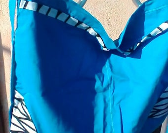 Blue and white and black fabric half  apron