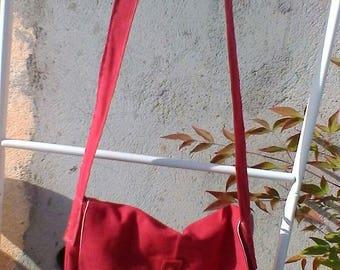 Red cotton canvas  messenger bag shoulder bag