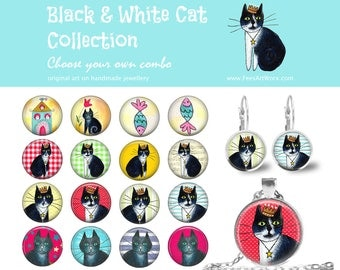 Personalised Combo Cat Earrings, Black and White Cat Jewelry, Cat Studs, Cat Drop Earrings, Cat Lever Backs, Cat Pendant, Cat Necklace
