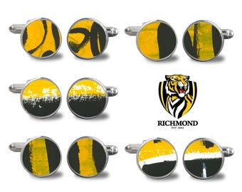 Richmond Cufflinks, Richmond Football, Abstract Cufflinks, Gift for Him, Mens Gifts, Bridal Jewelry, Grooms Gifts, Wedding Jewelry