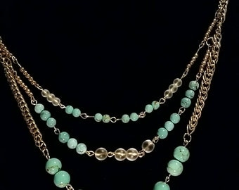 Gold and turquoise layered necklace jewelry set (necklace, bracelet, and earrings). Unique, handmade gift for her!