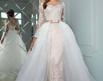 Wedding Lace dress with removable train, Wedding dress with sleeves, Color of a dusty rose, tulle bridal removable skirt with train