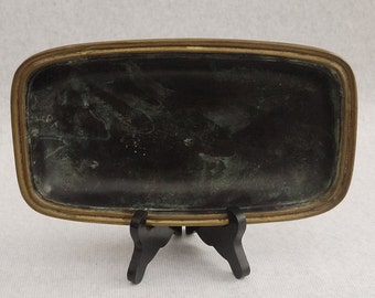 Antique french Bronze Green and Gilded Bowl, Platter. Heavy Cast Bronze Chic Center Table Circa 1950's