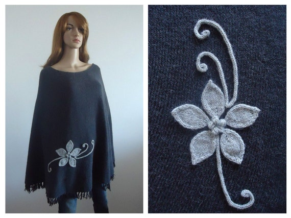 Poncho Grey  black sweater modern knitwear Hand knitted poncho gray jumper Gift 100% handmade Women cape