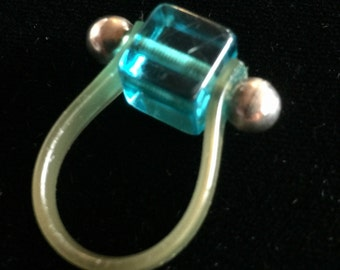 Vintage Sweet Statement Ring~Lucite and Acrylic~Turquoise Cube Design with Lucity Wrap