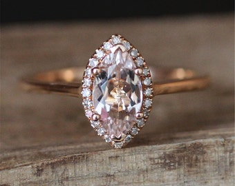 1.0ct Marquise Cut Morganite Engagement Ring Plain Ring Band Stackable Morganite Ring 14K Rose Gold Ring Bridal Ring Gemstone Ring
