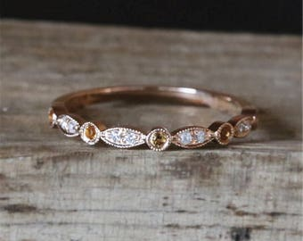 Birthstone Wedding Ring Half Eternity Pave Diamonds&Citrine Ring Art Deco Match Band Milgrain Bezel Ring Stackable 14K Rose Gold Bridal Ring