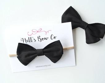 BLACK - Baby, Toddler, Girls, Fabric, Hair Bow, Headband, Hair Clip, Hair Accessories, Folded Hair Bow, Baby Shower Gift