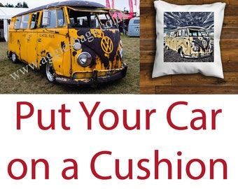 Put your Car on a Cushion Cover Personalised Car Cushion Cover 16 or 18 inch
