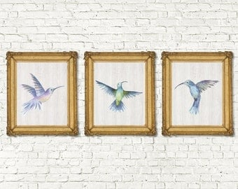 Instant Download Watercolor Birds Printable Set of 3 |  Watercolor Bird Printable Set | Vintage Boho Rustic Bohemian Bird Art 8x10