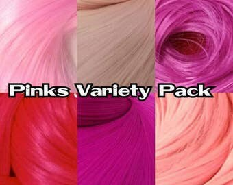 Pink Variety Pack 6 Colors Baby, Coral, Fuchsia, Magenta, Hot & Powder Nylon Doll Hair Hank Rerooting Barbie, Monster High, Ever After High