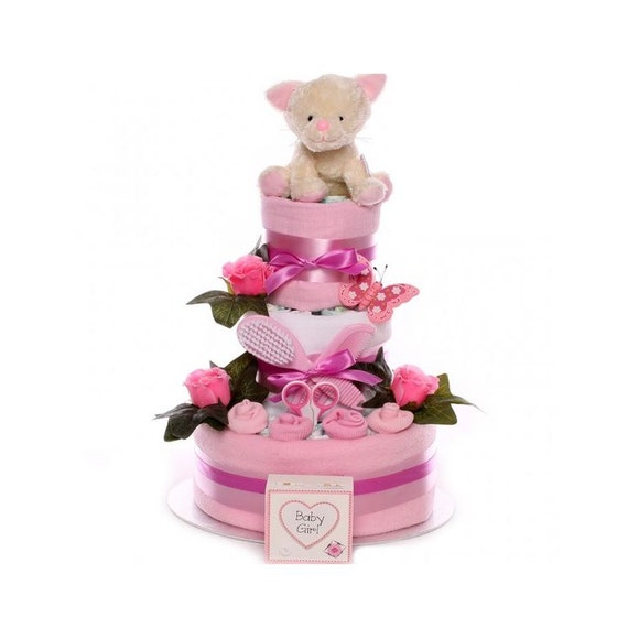 Little Cat Nappy Cake Baby Girl, themed nappy cake, nappy cake gift baby girl, baby girl nappy cake, nappy cakes UK delivery
