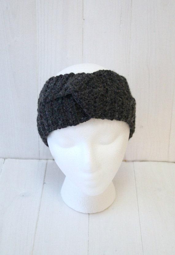 Headband, Twisted headband, Turban headband, Womens headband, Crochet headband, Grey headband, Ladies twist headband, Ready to ship,