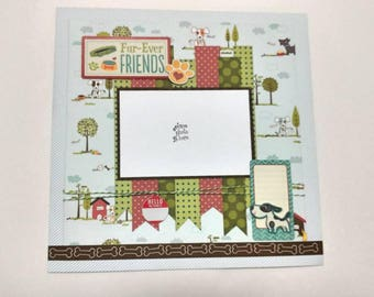 """2-Page 12x12 Premade Scrapbook Layout, Dog """"Fur-Ever Friends,"""""""