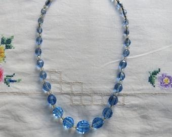 Czech Art Deco crystal blue glass necklace 1930s