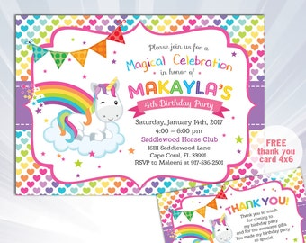 Rainbow Unicorn Invitation, Unicorn Birthday Invitation, Unicorn Party Invite, Unicorn Invitation, Girls Birthday Invite