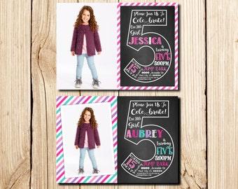 5th Birthday Invitation Girl, Сhalkboard, Fifth Birthday Invitation, Girl Birthday Invitation, Pink, Purple, Chalkboard, with Picture