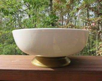 Vintage Homer Laughlin Bowl Kenilworth USA with Brass Foot Creme Color