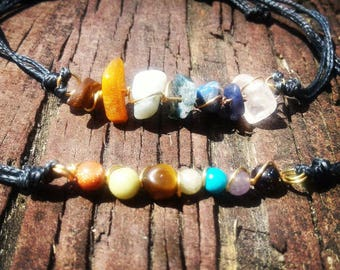 Chakra Crystal Bracelets - rough crystals or round beads - with 7 different gemstones