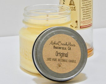 8oz Original 100% Pure Filtered Beeswax Candle