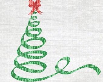 Christmas Tree Svg Cut File - Ribbon Christmas Tree Svg Cut File - Swirly Christmas Tree Cut File - Dxf - Png - Png - Santa Svg - Christmas