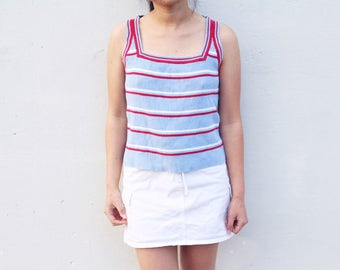 Red, White and Sky Blue Stripe Tank Top
