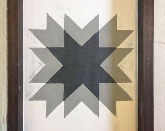 Distressed black, grey and white star barnquilt