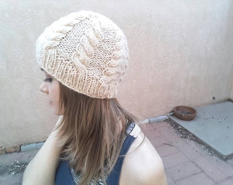 Hand Knit Cable Beanie in Cream