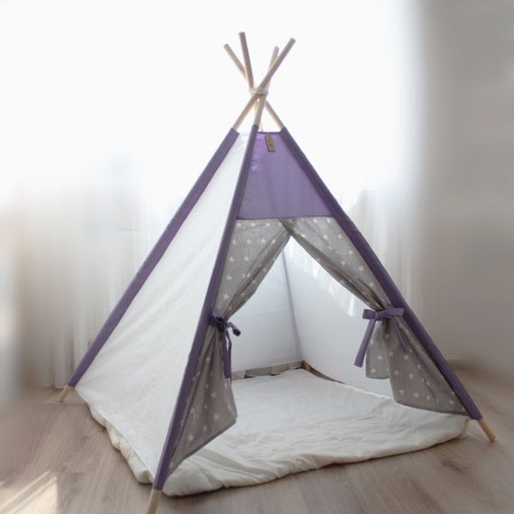 gris lilas tipi enfants stars tente de jeu tipi enfants. Black Bedroom Furniture Sets. Home Design Ideas