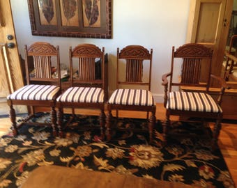 Set of 4 Jacobean-style dining chairs
