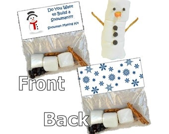 Snowman making kit - goody bags - bag toppers