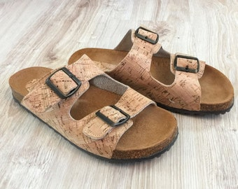 100% Cork and Leather Sandals, Cork and leather Sole, Platform Slides Summer Shoes Original Comfortable Sandals, Comfort Fit