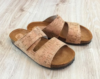 Cork Sandals, Cork and leather Sole Platform with Velcro Slides Summer Shoes Original Comfortable Sandals, Comfort Fit