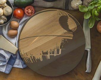 STAR WARS Inspired Death STar Bamboo Cutting Board BIG 35cm diamater
